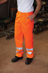 Yoko Workwear Hi-Vis Polycotton Work Trousers Tall