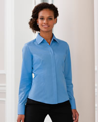 Russell - Ladies Long Sleeve Poly Cotton Easy Care Fitted Poplin Shirt