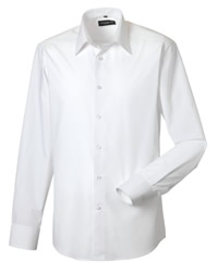 Russell Collection Mens Long Sleeve Poplin Shirt