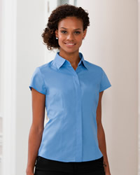 Russell - Ladies Cap Sleeve Polycotton Easy Care Fitted Poplin Shirt