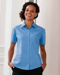 Russell - Ladies Short Sleeve Polycotton Easy Care Poplin Shirt
