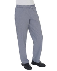 Dennys - Blue/White Check Fully Elasticated Trousers
